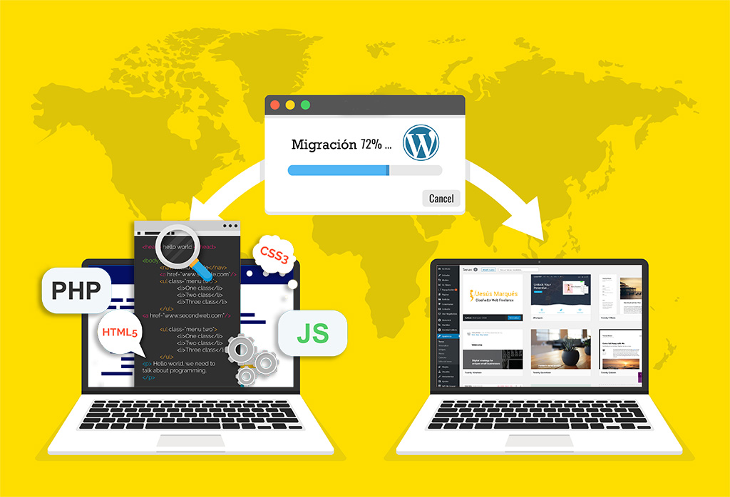 Migración web WordPress - Diseño Web WordPress+WooCommerce Valencia